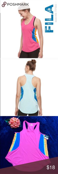 Women's FILA SPORT® Mesh Tank Women's FILA SPORT® Mesh Color Block Tank Sz M. PRODUCT FEATURES Mesh side panels provide ventilation High-low, shirttail hem Colorblocked design Reflective scoopneck Racerback Trudry moisture-wicking technology keeps you dry Tag free FABRIC & CARE Polyester, spandex Machine wash Imported FILA SPORT Tops Tank Tops