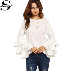 Sheinside 흰색 라운드 넥 프릴 긴 소매 셔츠 여성 작업복 패션 탑 여성 유행 블라우스
