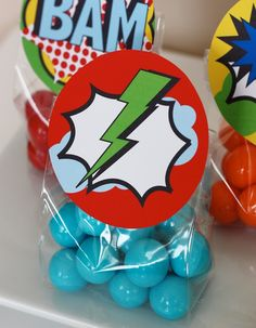 Super hero favor bag idea.  Goes with classroom theme..