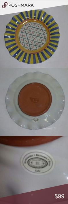 """Mackenzie Childs Pottery Monet Fluted Dinner Plate Gorgeous retired piece. 11"""" across. Excellent condition with original label. Mackenzie Childs Other"""