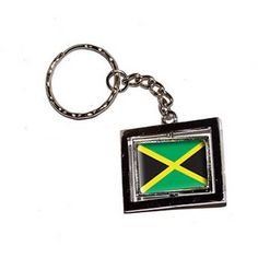 Jamaica Jamaican Country Flag New Keychain Ring, Silver
