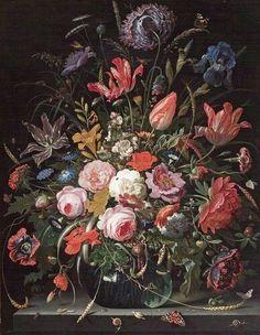 Abraham Mignon. Bloemen in een vaas (circa 1665). Op het schilderij zijn 15 soorten bloemen, acht vlinders, zes slakken, een spin, een lieveheersbeestje, een muis, rupsen, mieren en 46 waterdruppels afgebeeld. Door de overwegend linksom buigende lijnen en de naar het midden toenemende dichtheid van de bloemen met als centrum de witte roos heeft de schilder het effect van een draaikolk bereikt. De veelheid van soorten geeft dit bloemstuk vooral een encyclopedisch karakter.