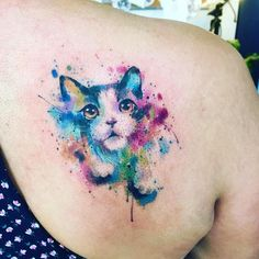 Discover recipes, home ideas, style inspiration and other ideas to try. Badass Tattoos, Cute Tattoos, Beautiful Tattoos, Cat Face Tattoos, Body Art Tattoos, Tattoo Gato, Watercolour Tattoo Men, Flower Watercolor, Javi Wolf