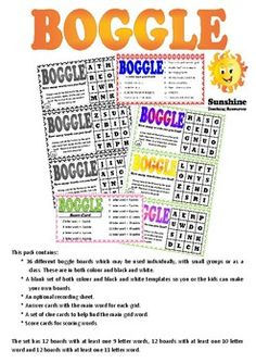 This pack contains: Boggle Board, Recording Sheets, Small Groups, Teaching Resources, Sunshine, Boards, Templates, Colour, Make It Yourself