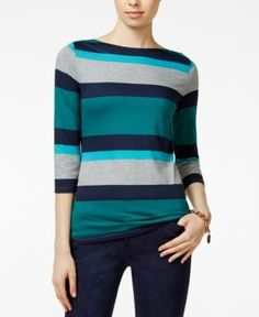 Tommy Hilfiger Renee Striped Boat-Neck Top - Blue S
