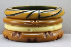 jersey caramel coloured bakelite bangles