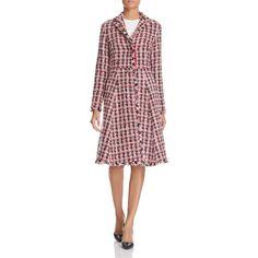 Paule Ka Tweed Swing Coat ($1,585) ❤ liked on Polyvore featuring outerwear, coats, rouge, swing coat, paule ka, tweed wool coat, trapeze coat and tweed coats