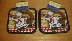 The Pecan Man Cotton Everyday Kitchen Basic Terry Potholder Set of 4 Fat Chef >>> Visit the image link more details.