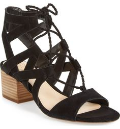 dabb8979e613 Up your style game with the Vince Camuto Fauna Ghillie Lace up Sandal. This  charming sandal shows off an on trend chunky stacked heel.