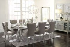 931c92e05f4b Ashley Coralayne Silver Finish 10 Pc. Rectangular Extension Table, 8 Upholstered  Side Chairs &