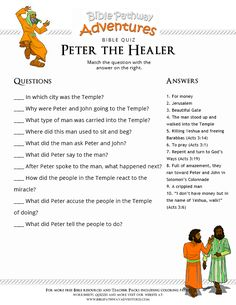 Enjoy our free Bible Quiz: Peter the Healer. Fun for kids to print and test their knowledge of the Bible. Feel free to share with others, too! Sunday School Activities, Bible Activities, Sunday School Lessons, Bible Games, Bible Trivia, Church Activities, Bible Lessons For Kids, Bible For Kids, Adventure Bible