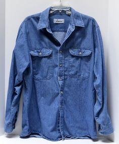 Vintage Roebucks Sears Mens XXL Blue Denim Chambray Long Sleeve Shirt Button #Roebucks #ButtonFront