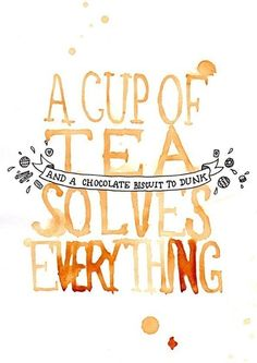 "There's nothing quite like a nice cup of tea when there's trouble ahead! Never forget about the awesome power of tea with this original digital print by Nikki McWilliams. ""A Cup of Tea Solves Everything"" was originally painted in Tea. Vintage Tea, Vintage Vibes, Chocolate Biscuits, Choco Biscuit, Chocolate Food, White Chocolate, Cuppa Tea, Poster S, Tea Time"