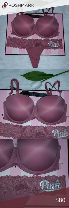 6b23e7b77f Nwt Pink Vs Multi Way Push-up Bra 34DD+Thong L Brand new with