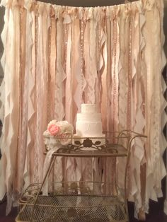 Champagne and Gold Ribbon Backdrop, Photo Booth Backdrop, Gold Ribbon Backdrop, lace Wedding Backdrop, Gold Backdrop