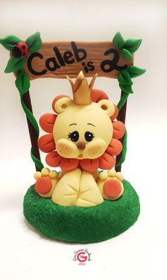 Lion cake topper baby shower lion cub by GinaCarrascoHandmade