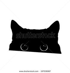 Cute black cat face with big eyes peeking silhouette. Vector illustration. - stock vector