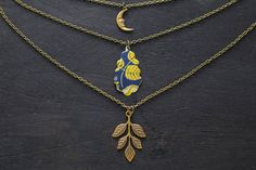 Crescent Moon Layered Necklace Layering by MusingTreeStudios