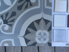 "Ann Sacks Los Jardines alongside possible waterline tile for pool- grey or cream 3"" two rows (Mission Tile West)"