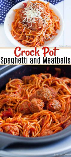 Sauce Spaghetti, Best Spaghetti, Spaghetti Recipes, Crock Pot Meatballs, Crockpot Spaghetti And Meatballs, Crockpot Recipes, Healthy Recipes, Cooker Recipes, Slow Cooker Spaghetti