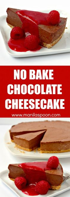 Use dark, milk or white chocolate to make this luscious Chocolate Cheesecake! Just 30 minutes to make and best of all no baking involved. The ultimate dessert for any chocolate lover! | manilaspoon.com