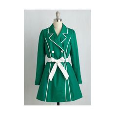 50s Long Long Sleeve East Coast Tour Coat ($100) ❤ liked on Polyvore featuring outerwear, coats, apparel, green, trench coat, green coat, sash belt, green trench coat and blue trench coat