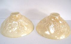 Pair Vintage Milk Glass Torchiere Shades for Table Lamps Luster Textured Flower