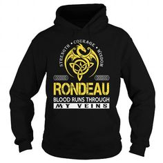 Awesome Tee RONDEAU Blood Runs Through My Veins - Last Name, Surname TShirts T shirts