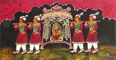 Newly+Wed+Bride+in+Palanquin+(Batik+Painting+on+Cotton+Cloth+-+Unframed)