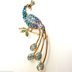 Ablaze Blue Crystal Gold-plated Peacock Peahen Bird Pin Brooch BH7303 #Unbranded