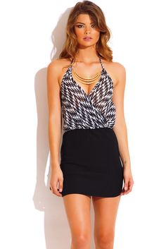 bring the bling - Trendy Cute black and white print bejeweled deep v neck halter cocktail pencil party mini dress #fashion #1015store   $30