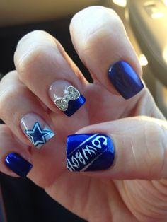 My Dallas Cowboy Nails Dallas Cowboys Nail Designs, Dallas Cowboys Nails, Football Nails, Pedicure Designs, Cute Nail Designs, Sports Nail Art, Sport Nails, Cowboy Nails, Nails And Beyond