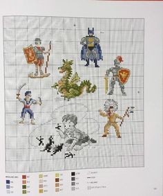 Playing with Heroes cross stitch pattern