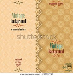 Vintage background with divider and beautiful arabesque, useful for greeting and luxury postcard; ornamental pattern template in design, decorative page cover. Royalty Free Images, Royalty Free Stock Photos, Background Vintage, Arabesque, Vector Art, Vectors, Divider, Templates, Luxury