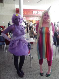 Lumpy Space Princess and Lady Rainicorn from Adventure Time. View more EPIC cosplay at http://pinterest.com/SuburbanFandom/cosplay/