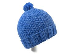 Knit Baby Hat Blue Hand Knit Acrylic Cap Pom by SwedetteKnits Outdoor Hats b6439ea3f57a
