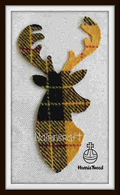 T6.Yellow Tartan - Stag Head - Harris Tweed - Cut Out - Iron - Sew On - Applique #nairncraft