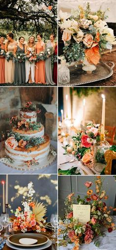 Wedding Colors dusty orange,blush pink,taupe and grey fall wedding colors