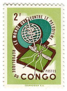Congo postage stamp: anti-malaria  c. 1962designed by Jean van Noten, printed by Hélio Courvoisier