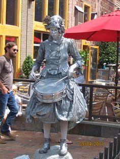 The Silver Drummer Girl is always at LAAFF (Lexington Avenue Arts & Fun Festival).