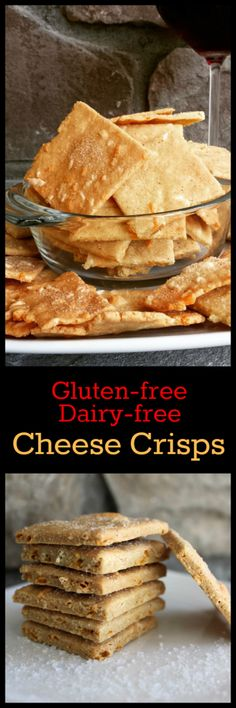 Nutritionicity   Recipe: Cheese Crisps (Gluten-free / Dairy-free) These tasty, cheesy, crunchy crackers are packed with plant protein and low in carbohydrates. Regular cheese can be substituted (recipe contains egg). Get the recipe at http://www.nutritionicity.com/recipes/recipe-cheese-crisps-gluten-free-dairy-free/