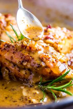 Juicy chicken smothered in a creamy honey mustard sauce - made even better with bacon! Honey Mustard Chicken is elegant enough for company, but easy enough to make for dinner any night of the week!