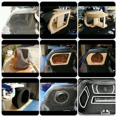 Ferrari 599 GTB, I didn't want to take a risk of doing fiberglass work inside the trunk. There was no room for error. So I share an alternative. I built the enclosure skeleton out of mdf first, then I did the fiberglass work outside of the vehicle. Wrapped the wood with carpet, applied resyn, added fiberglass inside the enclosure for strength, and wrapped it in carpet. Once installed, the cosmetic panels were built. sub on the side how to fiberglass trunk