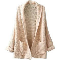 Beige Lapel Pocket Detail Open Front Long Sleeve Knit Cardigan (€23) ❤ liked on Polyvore featuring tops, cardigans, jackets, outerwear, sweaters, long sleeve cardigan, long sleeve tops, long sleeve knit tops, knit cardigan and open front knit cardigan