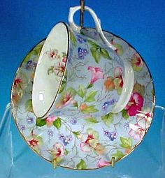 English Fine Bone China Blue FLORAL CHINTZ Footed Teacup (Tea Cup) & Saucer Set CROWN TRENT CHINA