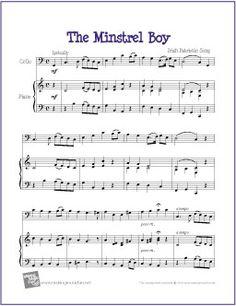 the minstrel boy free cello sheet music digital print