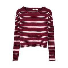 Preppy Contrast Stripe Round Collar T-shirt ($20) ❤ liked on Polyvore featuring tops, sweaters, shirts, long sleeves, purple top, purple long sleeve shirt, long-sleeve shirt, round neck top and purple shirt
