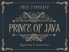 Prince of Java is an exclusive ornamental style typeface inspired by the vintage signages; it is free for download for personal and commercial use.