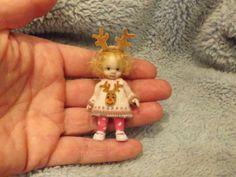 Miniature handmade MINI CHRISTMAS BABY GIRL REINDEER ooak DOLLHOUSE ART DOLL