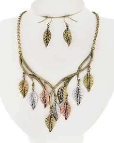 Tri-tone Metal / Lead&nickel Compliant / Leaf Charm Necklace & Fish Hook Earring Set